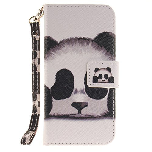 Für iPhone 7 Full Body Schutz Tasche Case Hülle,Für iPhone 7 Bookstyle Strap Lanyard Wallet Flip Schutzhülle Zubehör Handytasche Brieftasche,Funyye Einzigartig Jahrgang [Retro Blume Muster] Handytasch Panda