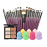 Rcool 1PC 6-Color Concealer + 20PC Cosmetic Makeup Brush + 1PC Water Face Powder Puff (B)