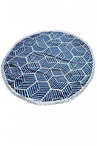 navy-geometric-round-cotton-beach-picnictowel-one-size