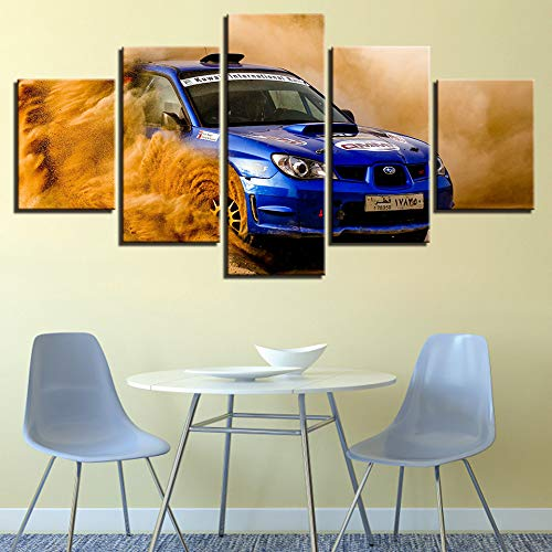 Ughjb 3D Etiqueta De La Pared Desmontable Wall Art 5 Panel Colorido Moderno Coche Cuadros Modulares Pintura Decoración Carteles Hd Home Framework For Living Room Decorativo Sin Marco