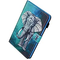 Herbests Funda Amazon Kindle Fire HD8 2016/2017, Funda de Cuero 360°+ Soporte Plegable, Único Diseño Pintado Piel Carcasa Slim Flip PU Leather de Billetera Tableta Funda Caso