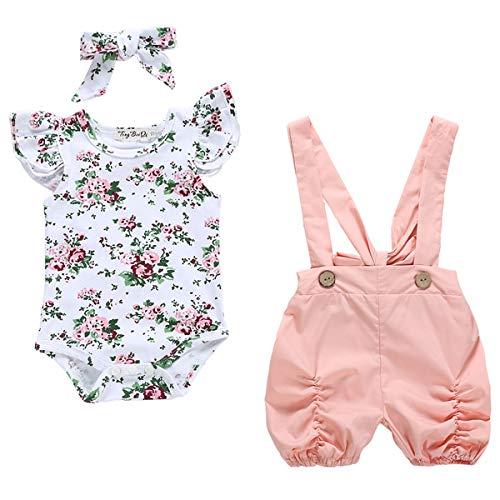 Chennie 0-18M Baby-Mädchen-Hosenträger-Hose Set Rüsche Ärmel Strampler + Kurzer Overall (Color : Pink+White, Size : 0-6M) Mädchen Rüschen Set