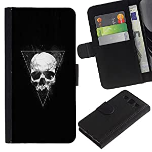 NICE GIFT GOOD PRESENT // Smartphone-Schutzhülle Hartschalen-Tasche Hülle HandyHülle für Mobiltelefon Samsung Galaxy S3 III I9300 / Triangle Geometrie Schädel /