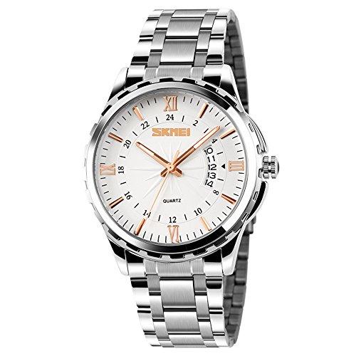 9236d079bf8a Vemupohal negocios cuarzo reloj para hombre Casual vestido de acero  inoxidable FECHA Fashion relojes 30 m