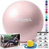 arteesol Palla Fitness, Palla Pilates Anti-Scoppio 45cm/55cm/65cm/75cm/85cm Palla da Ginnastica con Pompa Rapida per Fitness Yoga e Pilates (75cm, Rosa Chiaro)