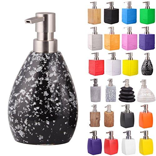 Seifenspender | viele schöne Seifenspender zur Auswahl | elegantes, stylisches Design | Blickfang für jedes Badezimmer (Black Glitzer)