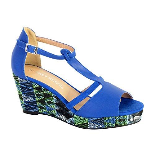 Sandale Compensée Enza Nucci QL2810 Bleu Bleu