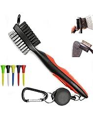 wzy® Golf Club Groove cepillo de limpieza–y limpiador de cabezal de Spike y alambre de hierro con dos caras cerdas de nailon y mosquetón retráctil–Loop Clip (mosquetón) para colgar en la bolsa de Golf–de forma gratuita Golf apoyo de la base 5Sets, rojo
