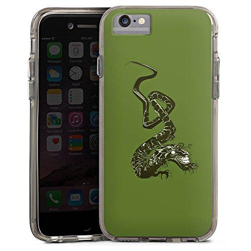 Apple iPhone 6 Bumper Hülle Bumper Case Glitzer Hülle Dragon Drache Tribal Bumper Case transparent grau