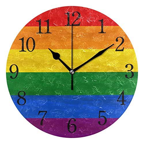 WowPrint Regenbogen Pride Gay Design Wanduhr Arabisch Ziffer, Leise, Ohne Ticken, Runde Wanduhren, Wohnaccessoires, Wohnzimmer, Badezimmer, Schlafzimmer, Küche, Büro Deko