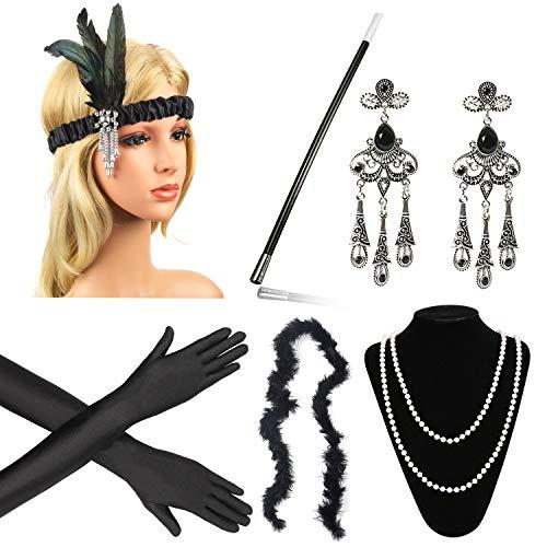 Beelittle anni '20 accessori set flapper fascia, collana, guanti, portasigarette grandi accessori gatsby per le donne (n)