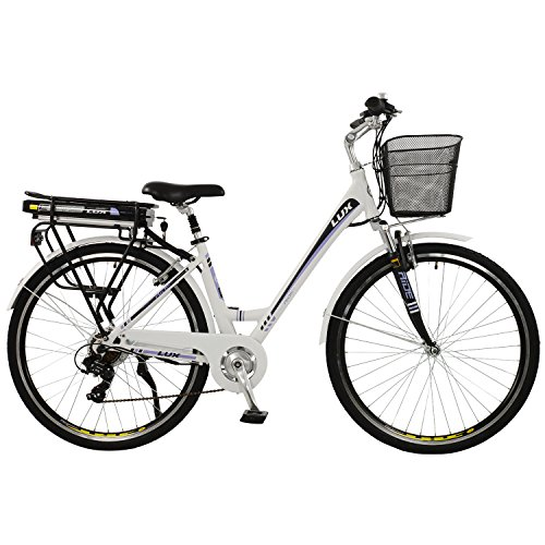 Lux Womens Low Step Electric Hybrid City Bike, White