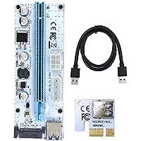 Raycity PCI-E Express PCIE 1X bis 16X Powered Riser Adapterkarte ETH Mining Verlängerungskabel mit 60cm USB 3.0 Verlängerungskabel 4 Solid Capacitors 1 Pack