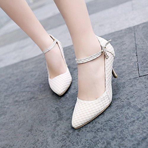 Mee Shoes Damen Stiletto ankle strap runde Pumps Beige