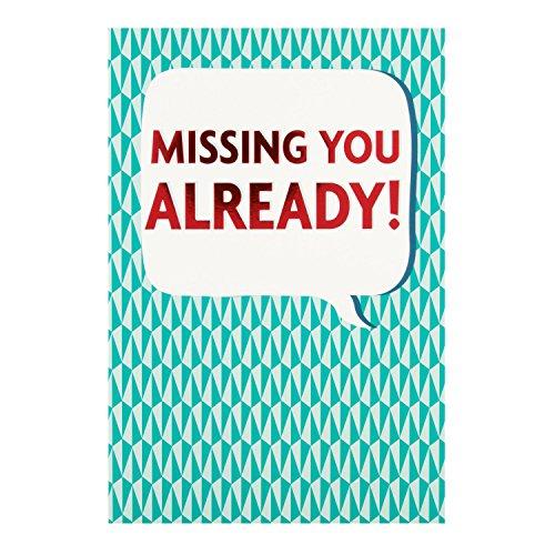 """Hallmark-Tarjeta de despedida con texto en inglés""""Missing You Already"""", tamaño mediano"""