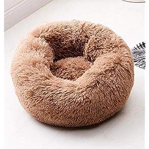 Hioowiu Warme Fleece Hundebett Runde Pet Lounger Kissen für kleine, mittelgroße Hunde Katze Winter Hundehütte Welpen Mat Dunkler Kaffee_80cm