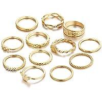 Belingeya-ac Knuckle Rings Rings 12 Pcs Set Classic Gold Color Knuckle Ring Set Vintage Joint Knuckle Mid Ring Set For Women Ladies for Women