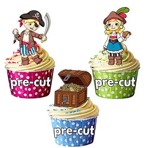vorgeschnittenen Pirat und Schatzkiste Mix-Essbare Cupcake Topper/Kuchen Dekorationen (Piraten Dekorationen Ideen)