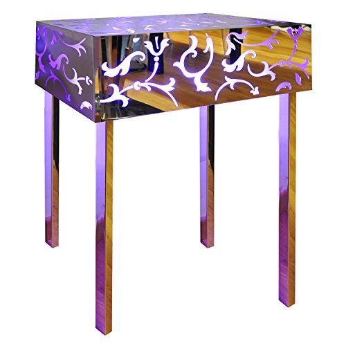 Konsole Beistelltisch Nachttisch Cubo Plexiglas, Lampe in Stahl hell mit Spiegel und Plex magenta/Außen Garten Wohnzimmer Schlafzimmer (Tisch Konsole Lampe Spiegel)