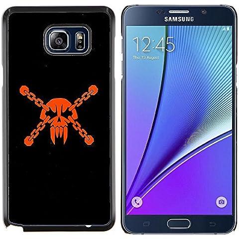 Copertura di plastica Shell Custodia protettiva    Samsung Galaxy Note 5    Testa del cranio Pirata Maschera Vampire denti Arancione @XPTECH - Arancione Pirata