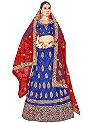 WomenS Blue Color Embroidered Lehenga