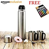 #7: Classvilla Premium Mega 1 Litre Stainless Steel   All Season   Cold & Hot   Water   Coffee   Thermos Flask Bottle Double Walled Vacuum Flask 1000 ml Thermosteel Flask