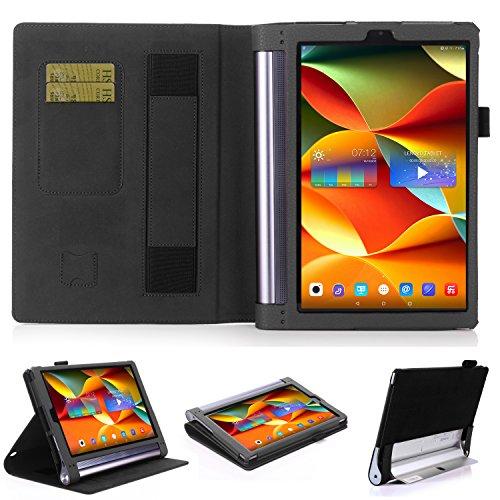 Lenovo Yoga Tab 3 Plus(YT-X703F)/ Lenovo Yoga Tablet 3 10 Pro Hülle Case, Hochwertige Kunstleder Hülle mit elastitcher Handschlaufe und Halterungen für Karten, Notizen für Lenovo Yoga Tab 3 Plus 25,65cm (10,1 Zoll IPS) Convertible Media Tablet/Lenovo YOGA Tablet 3 10 Pro 25,6 cm (10,1 Zoll QHD IPS) Tablet (Not für Lenovo Yoga Tab 3 10) (Schwarz)