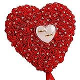Sanwood - Romantische Herzform weiß rose Kissen Hochzeit Hochzeit Ring Box Ring Kissen mit Elegantes Blumenmuster Kissen Satin Ring Hochzeit Verlobungsring Container Fall, rot, 22cm x 20cm