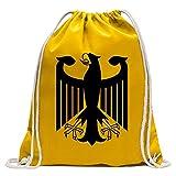 KIWISTAR - Bundeswappen Deutschland ohne Rahmen Turnbeutel Fun Rucksack Sport Beutel Gymsack Baumwolle mit Ziehgurt
