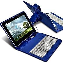 Aventus Tablet Teclado QWERTY de piel sintética ajustable función atril para Android Tablet con conexión micro USB Amazon Fire HD Tablet azul