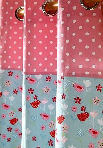 Homescapes Kindervorhang Mädchen Kinderzimmer Ösenvorhang Dekoschal Birds & Flowers 2er Set pink blau 137 x 228 cm (Breite x Länge je Vorhang) 100% reine
