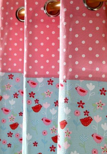Homescapes Kindervorhang Mädchen Kinderzimmer Ösenvorhang Dekoschal Birds & Flowers 2er Set pink blau 137 x 228 cm (Breite x Länge je Vorhang) 100% reine - Baby-mädchen-kinderzimmer-fenster-vorhang
