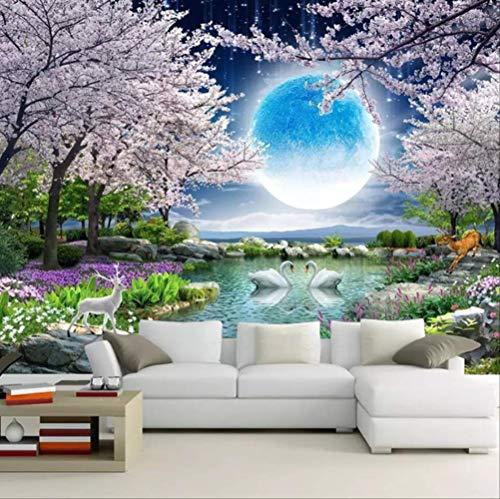 Wandelpapier Mond-blüten-blütenbaum Natur Landschaft Wandmalerei Wohnzimmer-schlafzimmer Foto Tapete Home Decor Hght300cm * Width210cm das A - Mond Blüten