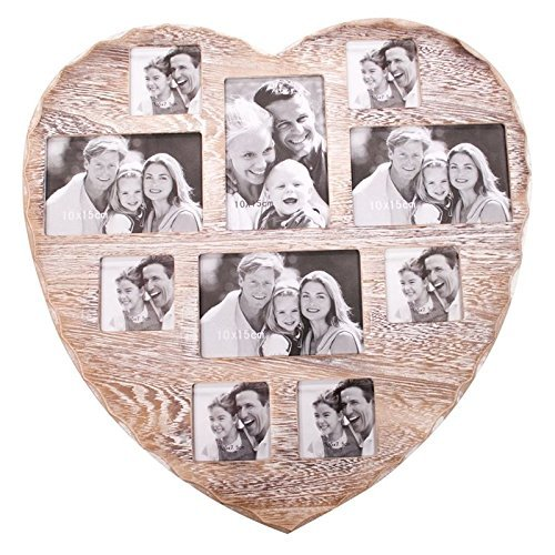 InveroÃ'® Large 10 Photo Multi Picture Shabby Chic Wall Vintage Rustic Heart Shaped Frame ideal for Home Kitchen or Gifts by InveroÃ'®