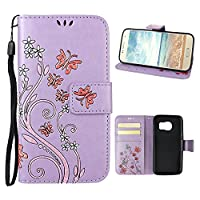 Galaxy S7 Case, Samsung Galaxy S7 Wallet Case, Rosa Schleife PU Leather Butterfly Flower Embossed Floral Flip Magnetic Closure Phone Case Protective Shell Case Cover for for Samsung Galaxy S7 G9300 (5.1