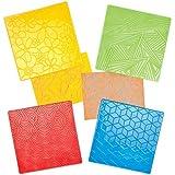 Plaques avec Imprimé Floral et Géométrique en Relief à Griffonner pour Créer, Décorer et Embellir les Cartes et Collages (Lot de 4)