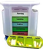 M&H-24 Tablettenbox Pillenbox Medikamentenbox für 7 Tage - Pillendose Tablettendose Wochendosierer Woche 4-Fächer Morgens Mittags Abends Nachts (1 Stück)