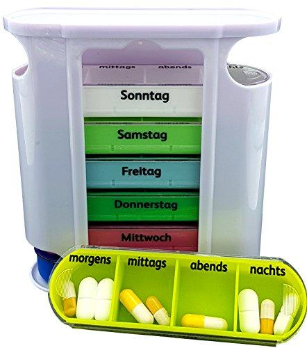 M&H-24 Tablettenbox Pillenbox Medikamentenbox für 7 Tage - Pillendose Tablettendose Wochendosierer Woche 4-Fächer Morgens Mittags Abends Nachts (Mehrfarbig 1 Stück)