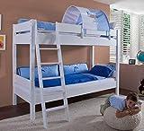 Froschkönig24 Etagenbett Stefan Hochbett Stockbett Kinderzimmer Weiß Stoffset Blau, Matratzen Oben/unten:ohne