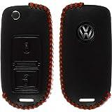 PhoneNatic Echtleder stitched Schlüssel Hülle für die VW 2-Tasten Fernbedienung in schwarz Klappschlüssel 2-Key