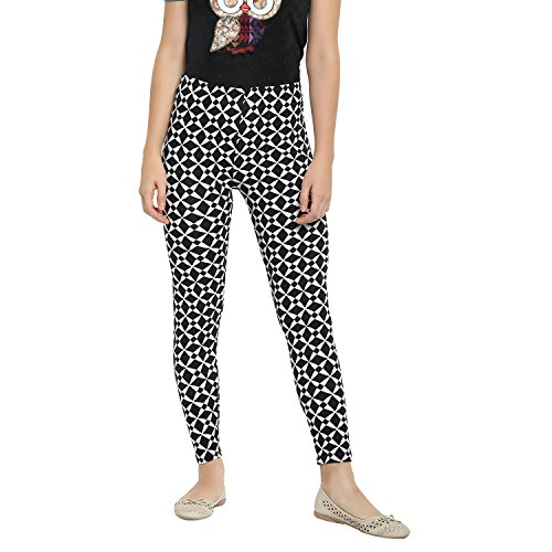 Camey Womens Printed Multicolor Leggings (LP65_BLACK.SQAURE)