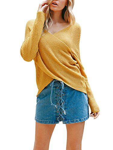 Nachfüllkassetten für Simplee Apparel Damen Herbst Winter Cross Wrap vorne Drop Schulter V-Ausschnitt Stretch Knit Kabel Pullover Gr. Medium, Gelb 1 (Pullover Wrap)