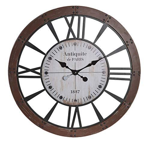 happyDko Grande Horloge Ronde Vintage, Bois & Métal Industrielle, Diam 80 cm