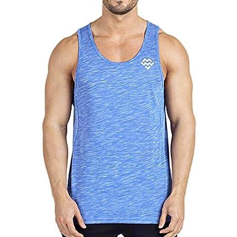 Hommes T-Shirt ,Overdose Basiques Tops Débardeur Coton Sans manches Loose Casual Vest T-shirt (Asian Size:XXL, Bleu)