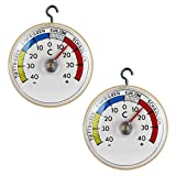 Thermometerwelt 2 Stück Set Kühlschrankthermometer zum ankleben oder aufhängen mit Metall Haken, Analog 4947