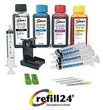 Kit de Recharge pour Cartouches d'encre HP (Non OEM) 62, 62XL Noir et Couleur, Encre avec Clip et Accessoires