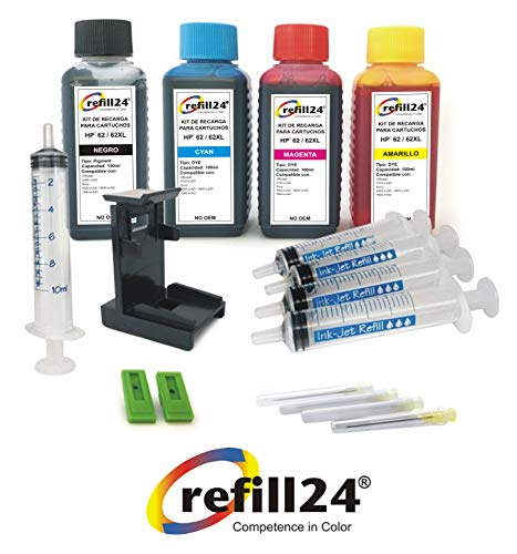 Kit de Recarga para Cartuchos de Tinta HP 62, 62 XL Negro y Color, Incluye Clip y Accesorios + 400 ML Tinta
