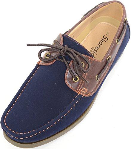 Scarpe da barca estive da uomo, con stringhe, stile casual, blu (Navy / Brown), 42