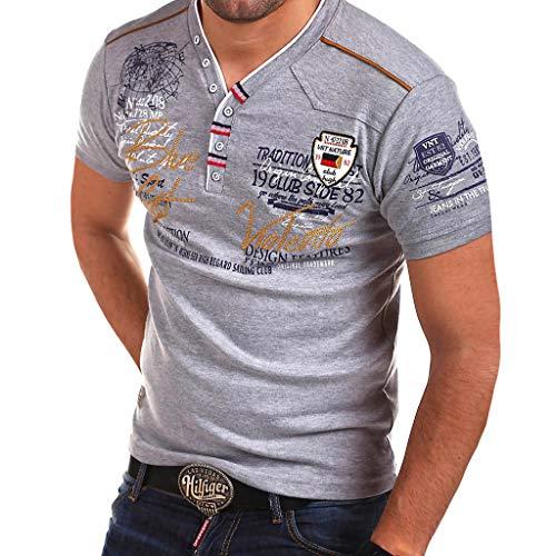 AmyGline Herren T Shirt Top Neu-Männer Frühling Sommer Casual Persönlichkeit Knöpfen Brief Druck Kurzarm T-Shirt Hemd Poloshirt Kurzarmshirt Sweatshirt Pullover Poloshirt Hemd -