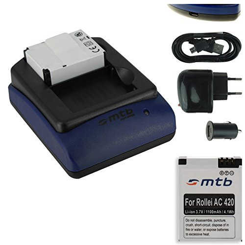 2x Akku (1100 mAh) + Dual-Ladegerät (Netz+Kfz+USB) für Rollei Actioncam 420 (4K Ultra WiFi)